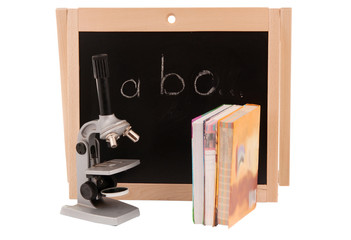 school board with books isolated