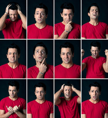 Set of different expressions of the same man.