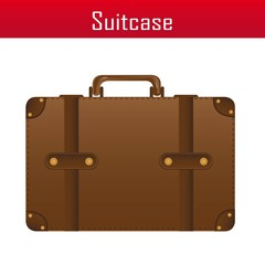 brown suitcase