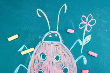 Lady-beetle, child's drawing with chalk