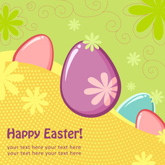 Easter greeting postcard with eggs