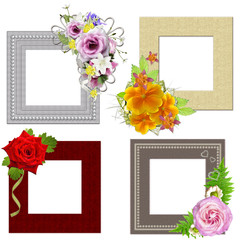 The frames is decorated with a bouquet of flowers. Isolated on w