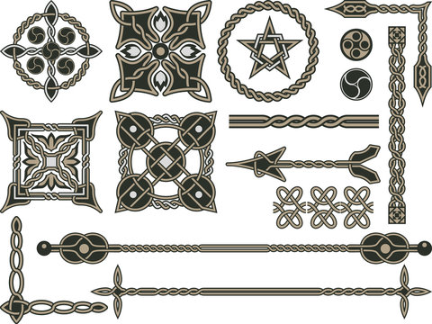 Celtic traditional elements for design in a vector