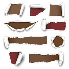 Сollection of torn paper. Vector illustration