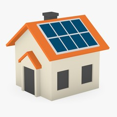 3d render of cartoon house with solar panels