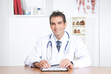 Male Doctor Sitting at Desk