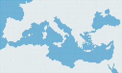 Wall Murals Pixel Mediterranean sea gray pixel map