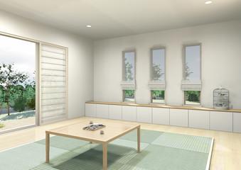 和式スタイルの居間のパース