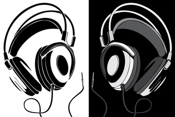 Vector series. Headphones black-white version