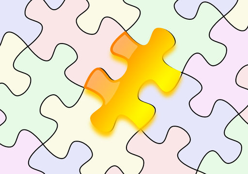 Glossy yellow puzzle emerging on paper