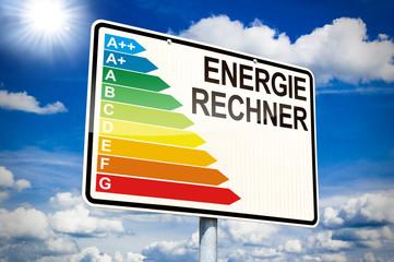 Orteingangsschild mit Energierechner