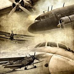 Retro aviation, grunge background