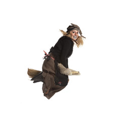 Young woman witch fly on broom
