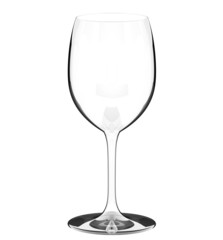 single empty wine glass on white background
