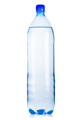Blue plastic bottle of iced mineral water with bubbles on white