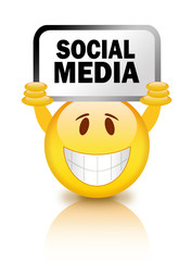 Smiley with social media sign