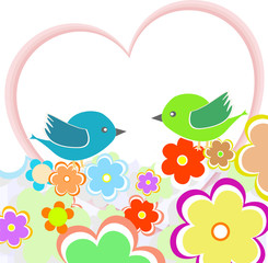 Card with birds on red heart among flowers with place for text