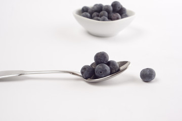 Fresh blueberries on white