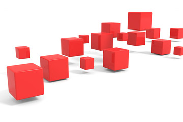 Flying red cubes.