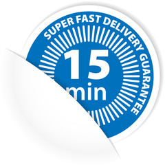 15 min delivery label