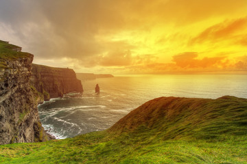 Wall Mural - Idyllic Cliffs of Moher at sunset, Co. Clare, Ireland