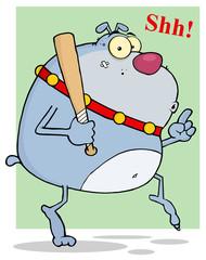 Sneaky Gray Bulldog Tip Toeing With Baseball Bat