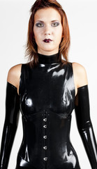 portrait woman wearing latex clothes