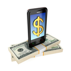 Modern mobile phone and dollar packs.