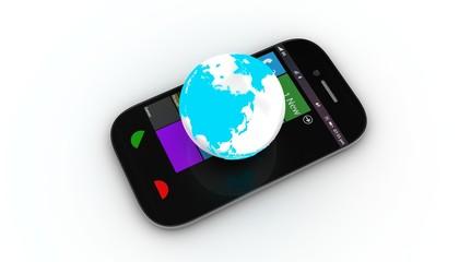 smartphone with globe