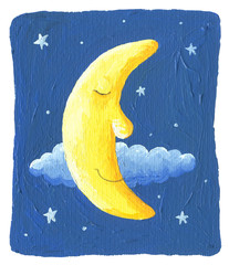 Sleepy Moon and the stars on the blue background
