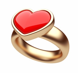 Gold ring with red heart 3D. Love concept. Isolated on white bac
