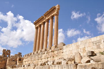 Temple of Jupiter in Baalbek at Baalbek, Lebanon.
