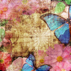 Photo sur Toile Papillons dans Grunge Vintage background with butterfly and flowers