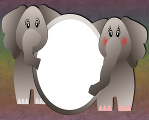 A pair of elephants with blank oval frame for photos or text