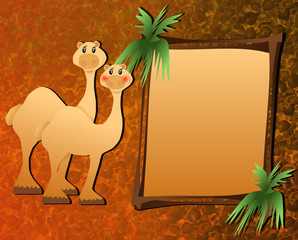 Camels next to framed border, perfect for photos, text, & more