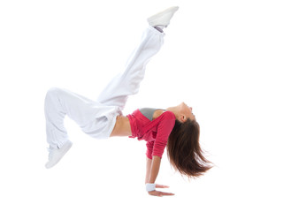 Woman dancer jump acting like hit soccer ball