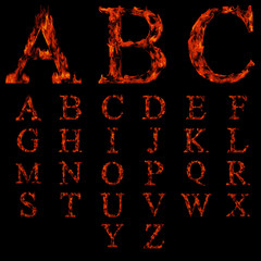High resolution set of fire fonts on black