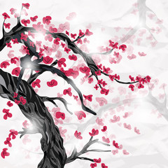 cherry blossom in spring ispired by japanese painting