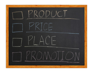 marketing 4p, Product, Place, Promotion, Price on blackboard