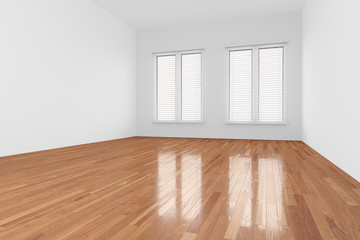 Obraz Empty Room with shutter on window - fototapety do salonu