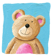 Cute teddy bear on the blue background