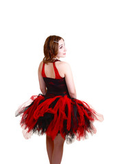 Ballerina in red and black dress.
