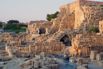 The ruins of the ancient city of Caesarea.  Israel