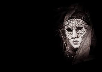 Venice carnival mask as symbol of carnival, magical Venice