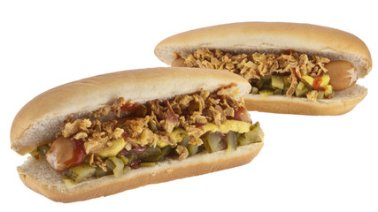 Hot Dogs with onions and cucumber