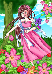 Cartoon illustration of a girl picking the flowers