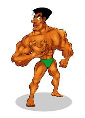Cartoon illustration of a muscular man figure