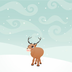 Cartoon Elk in winter on a snow
