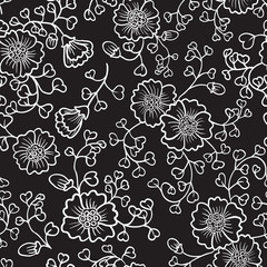 Floral cute abstract doodle seamless