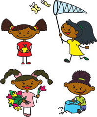 Set with cute afroamerican girls caracters, color version